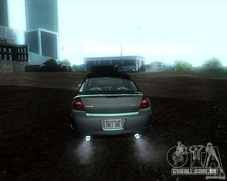 Dodge Neon para GTA San Andreas traseira esquerda vista