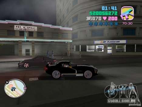 Dodge Viper Hennessy 800 para GTA Vice City vista traseira esquerda