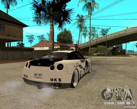Nissan Skyline R35 para GTA San Andreas traseira esquerda vista