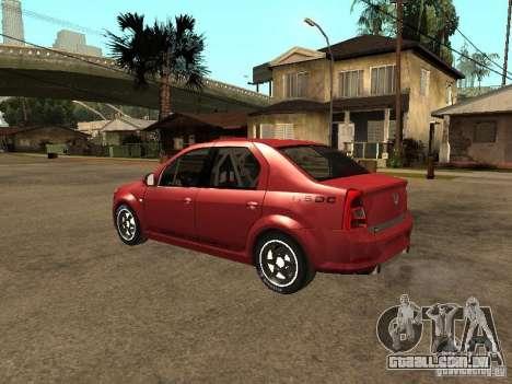 Dacia Logan Rally Dirt para GTA San Andreas esquerda vista