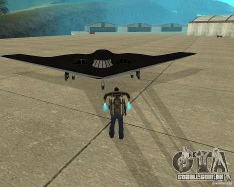 B-2 Spirit Stealth para GTA San Andreas vista traseira