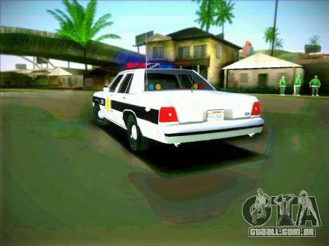 Ford Crown Victoria LTD 1991 HILL-VALLEY Police para GTA San Andreas traseira esquerda vista