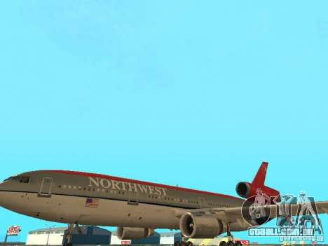 McDonell Douglas DC 10 Nortwest Airlines para vista lateral GTA San Andreas