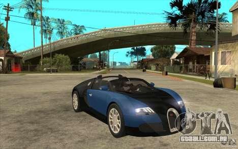 Bugatti Veyron Gran Sport 2011 para GTA San Andreas vista traseira
