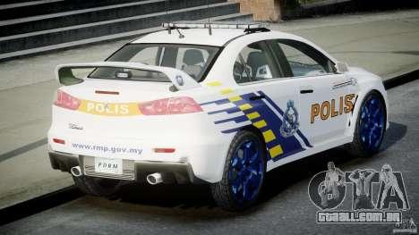 Mitsubishi Evolution X Police Car [ELS] para GTA 4 traseira esquerda vista