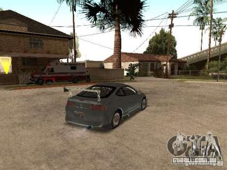 Acura RSX Charge para GTA San Andreas traseira esquerda vista