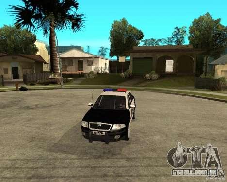 Skoda Octavia II 2005 SAPD POLICE para GTA San Andreas vista interior