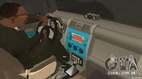 Toyota FJ Cruiser para GTA San Andreas vista interior