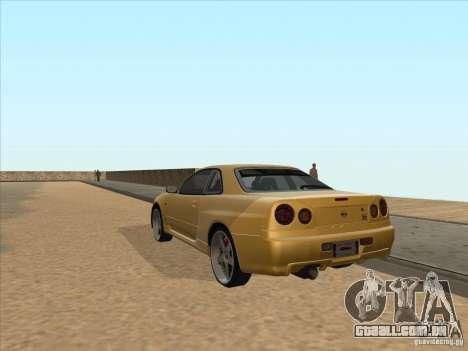 Nissan Skyline R34 VeilSide para GTA San Andreas traseira esquerda vista