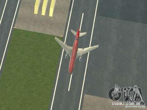 McDonell Douglas DC 10 Nortwest Airlines para GTA San Andreas vista interior