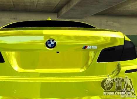 BMW M5 F10 Gold para GTA San Andreas vista direita
