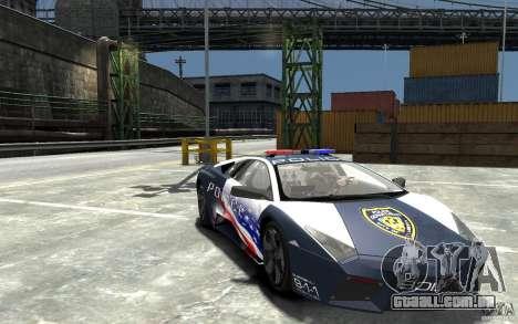 Lamborghini Reventon Police Stinger Version para GTA 4 vista de volta