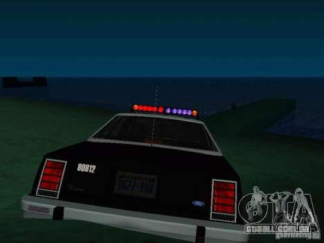 Ford Crown Victoria LTD 1992 SFPD para GTA San Andreas traseira esquerda vista