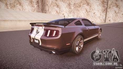 Ford Mustang Shelby GT500 2010 (Final) para GTA 4 vista superior