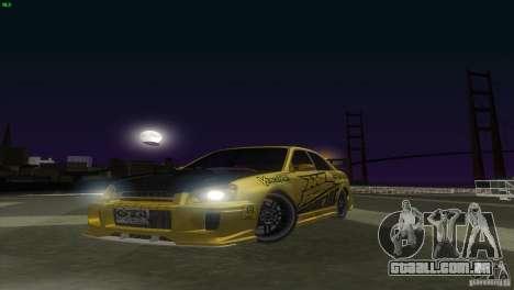 Subaru Impreza WRX No Fear para GTA San Andreas traseira esquerda vista