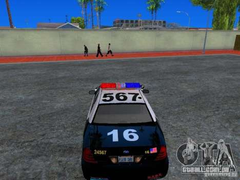 Ford Crown Victoria San Andreas State Patrol para GTA San Andreas vista traseira