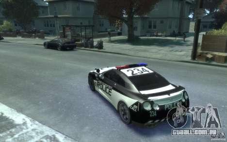 Nissan GT-R R35 Police para GTA 4 traseira esquerda vista