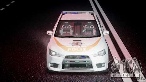Mitsubishi Evolution X Police Car [ELS] para GTA 4 vista inferior