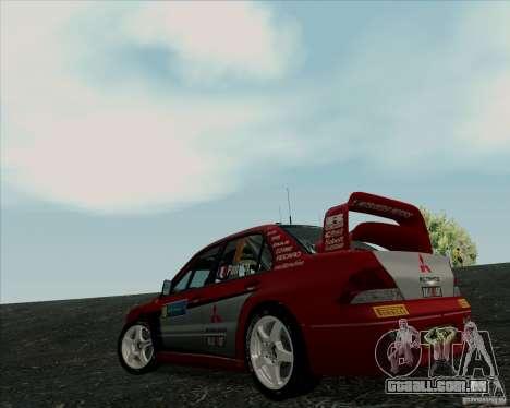 Mitsubishi Lancer Evolution VIII WRC para GTA San Andreas vista direita