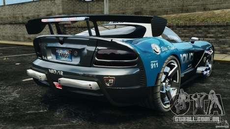 Dodge Viper SRT-10 ACR ELITE POLICE para GTA 4 traseira esquerda vista