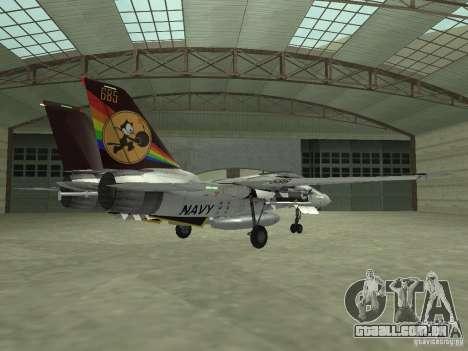 F-14 para GTA San Andreas traseira esquerda vista