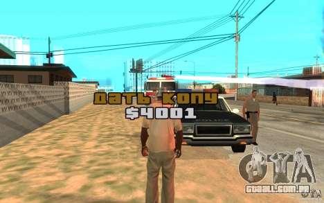O suborno para GTA San Andreas terceira tela