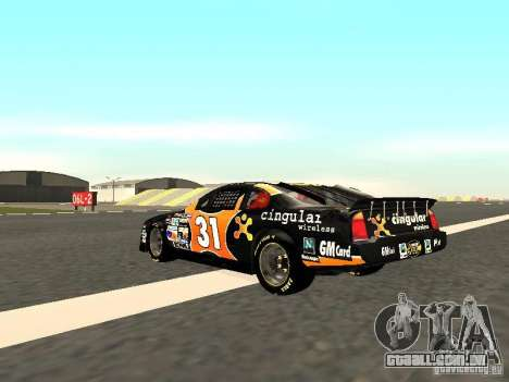 Chevrolet Monte Carlo Nascar CINGULAR Nr.31 para GTA San Andreas traseira esquerda vista