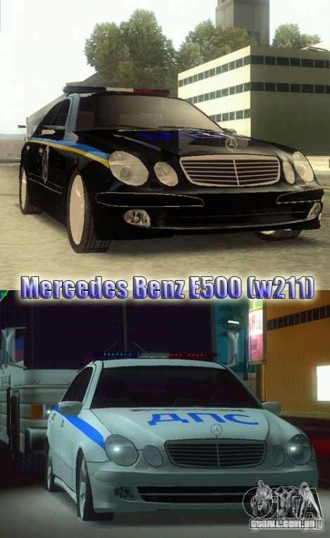 MERCEDES BENZ E500 w211 SE polícia Rússia para GTA San Andreas traseira esquerda vista