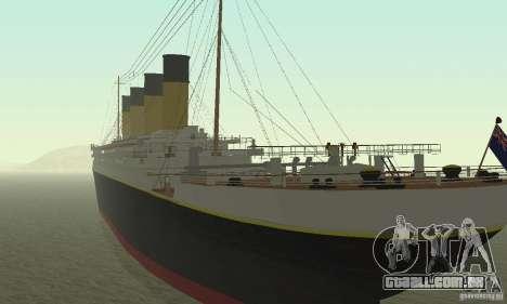 RMS Titanic para GTA San Andreas esquerda vista