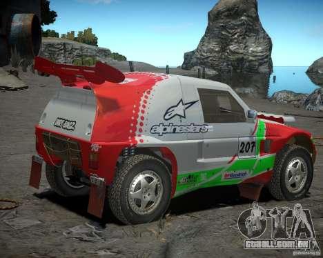 Mitsubishi Pajero Proto Dakar EK86 vinil 2 para GTA 4 traseira esquerda vista