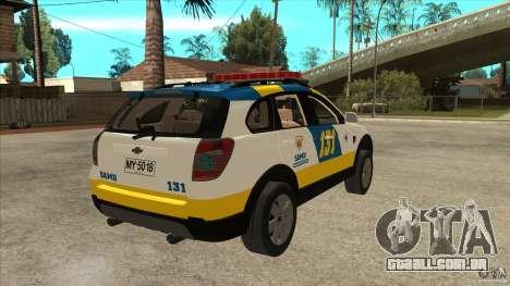 Chevrolet Captiva Police para GTA San Andreas vista direita