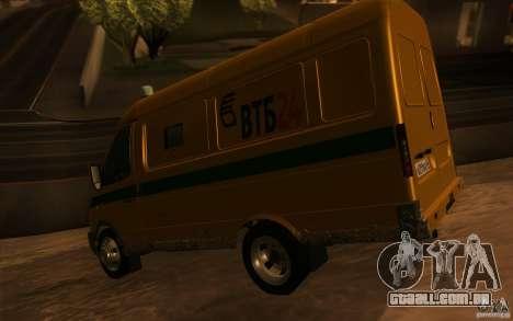 Serviços de transporte de gazela 2705 para GTA San Andreas vista superior
