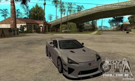 Lexus LFA 2010 para GTA San Andreas vista traseira