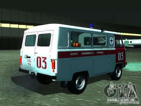 UAZ 3962 ambulância para GTA San Andreas vista direita