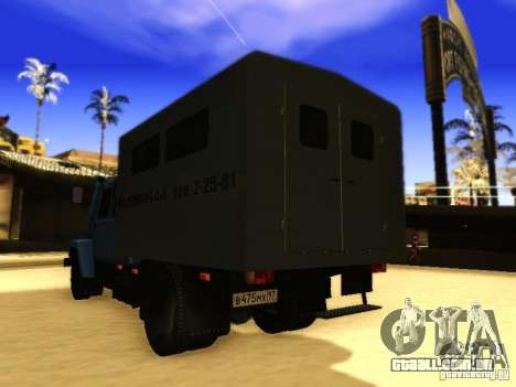 Fila dupla de GAZ 3309 para GTA San Andreas vista interior