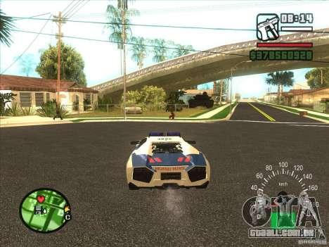 Lamborghini Reventon Police para GTA San Andreas traseira esquerda vista