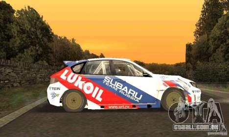 Subaru Impreza WRX STi Russia Rally para GTA San Andreas vista interior