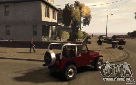 Jeep Wrangler 1986 para GTA 4 vista direita