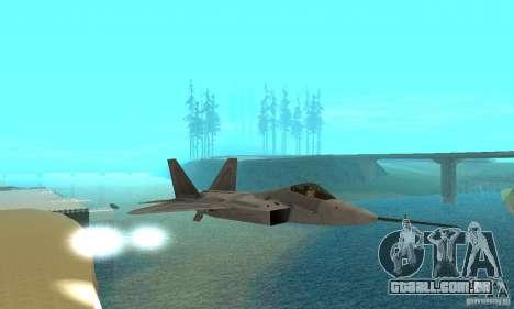 YF-22 Grey para GTA San Andreas vista interior