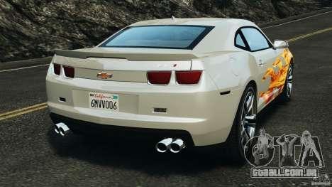 Chevrolet Camaro ZL1 2012 v1.0 Flames para GTA 4 traseira esquerda vista