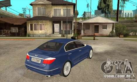 Hyundai Genesis para GTA San Andreas traseira esquerda vista