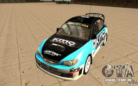 Novos vinis para Subaru Impreza WRX STi para GTA San Andreas vista traseira