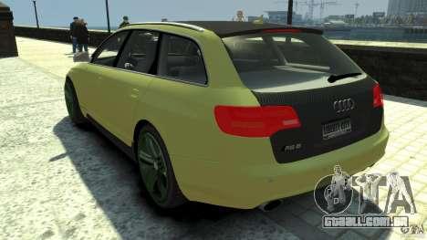 Audi RS6 Avant 2010 Carbon Edition para GTA 4 traseira esquerda vista