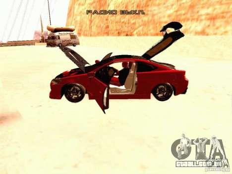 Acura RSX Drift para GTA San Andreas vista interior
