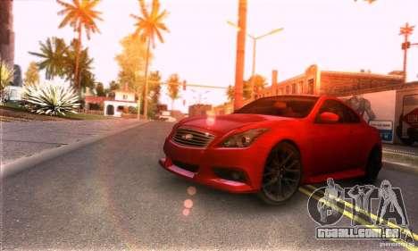 Infiniti IPL G Coupe 2012 para GTA San Andreas traseira esquerda vista