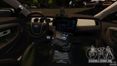 Ford Taurus 2010 CCSO Police [ELS] para GTA 4 vista de volta
