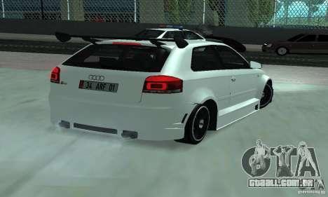 Audi S3 Full tunable para GTA San Andreas traseira esquerda vista