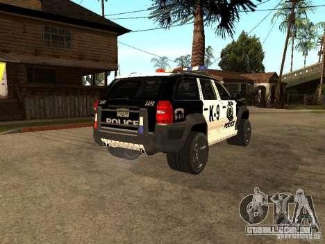 Jeep Grand Cherokee police K-9 para GTA San Andreas traseira esquerda vista
