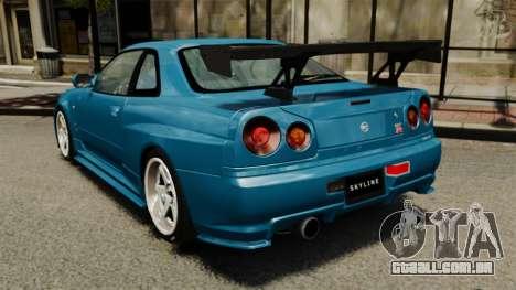 Nissan Skyline R34 2002 v1.1 para GTA 4 traseira esquerda vista