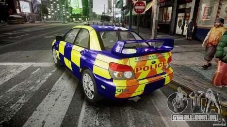 Subaru Impreza WRX Police [ELS] para GTA 4 traseira esquerda vista
